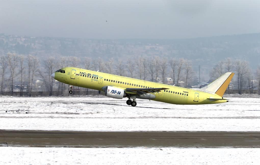 Самолет МС-21-310 сроссийскими двигателями совершил первый полет